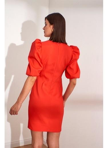 Setre  Kare Yaka Karpuz Kol Drapeli Mini Abiye Elbise Kırmızı